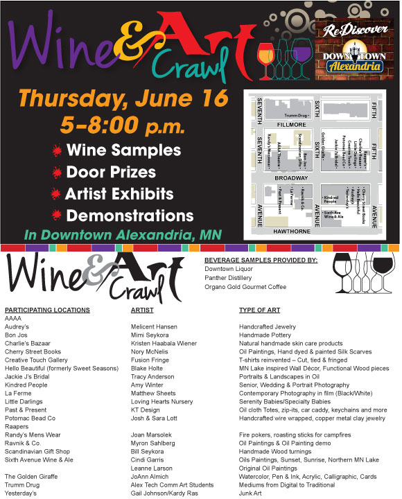 wine and art crawl info