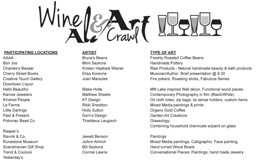 wine and art crawl locations