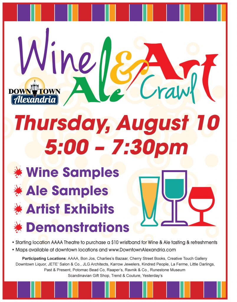 wine ale and art crawl flyer