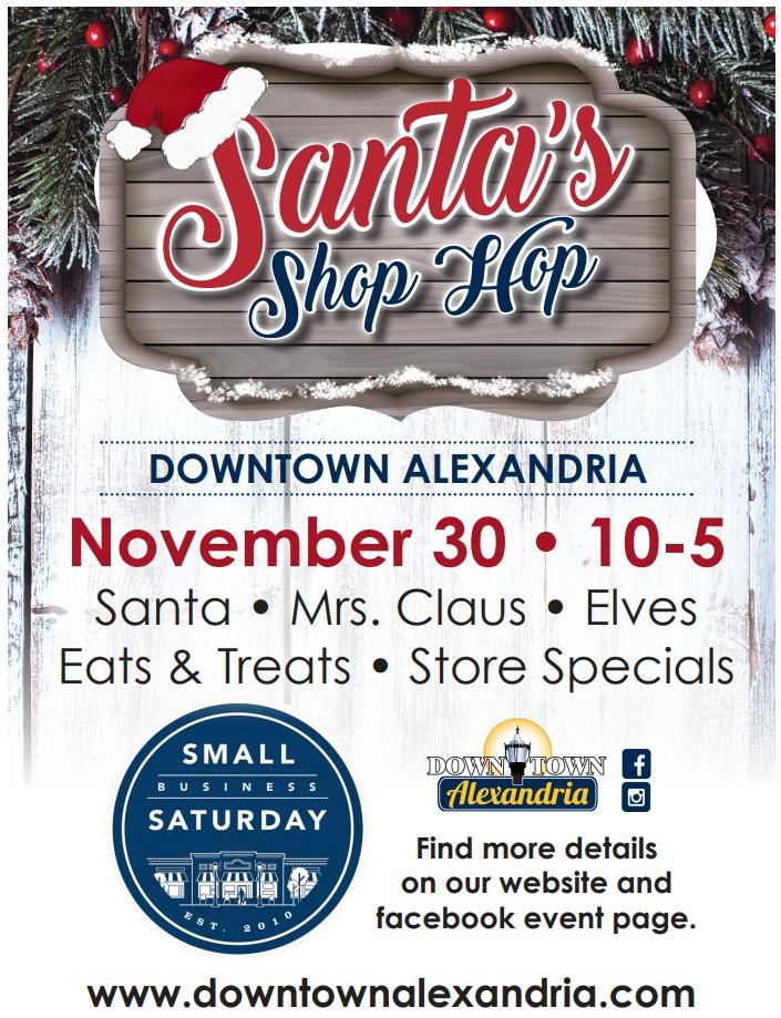 santa's shop hop event downtown alexandria mn